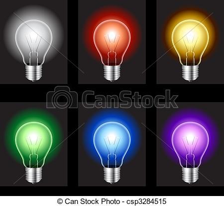 Clipart Vector of Light bulbs..