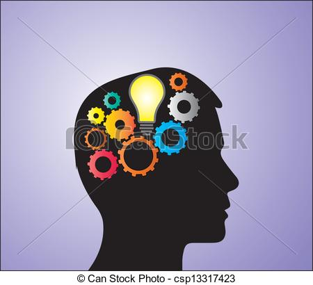 Vector Illustration of Glowing Bulb in Head with Gears.