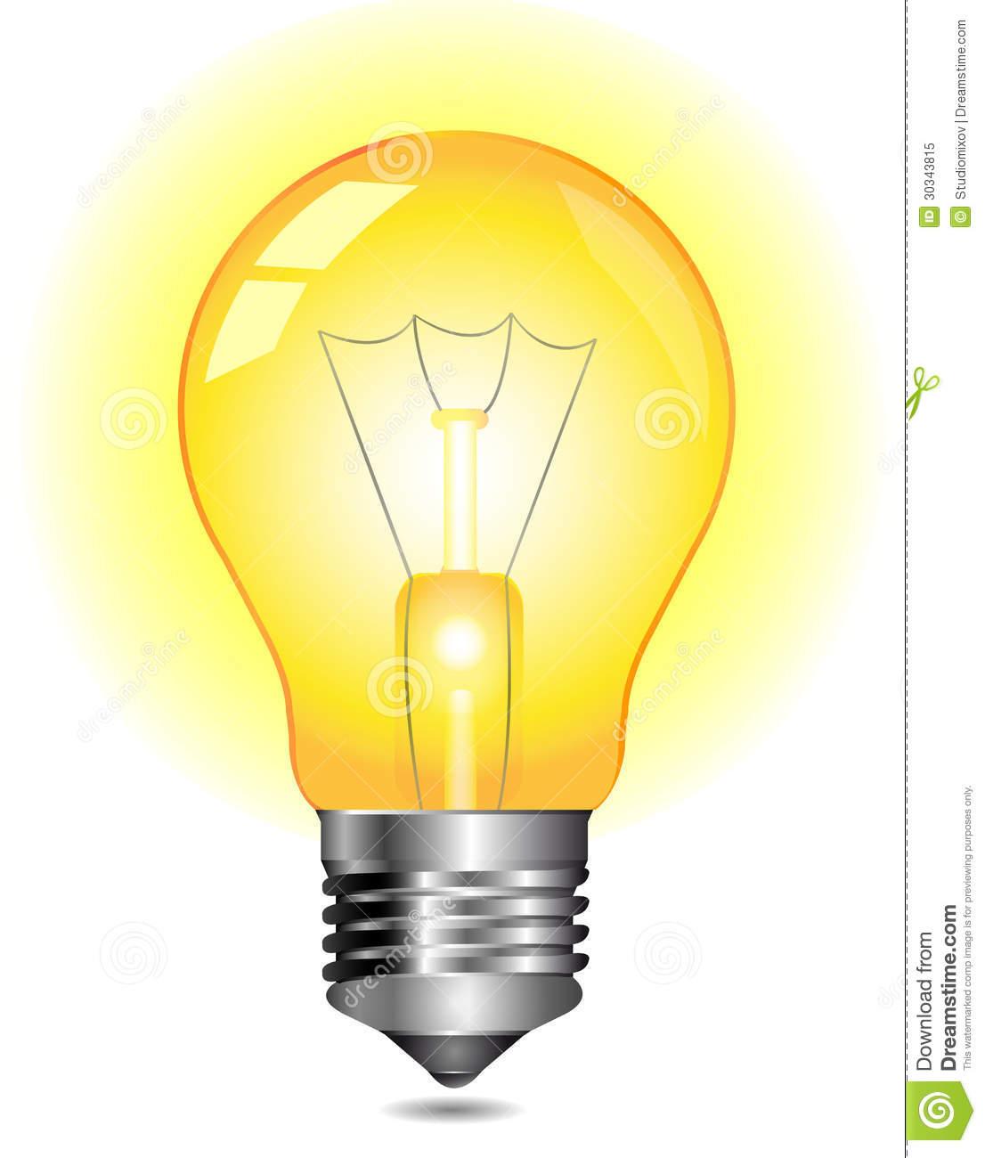 Glowing Yellow Light Bulb Clipart.