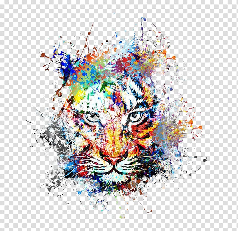 Abstract art Painting Drawing, Creative color ink splash tiger.