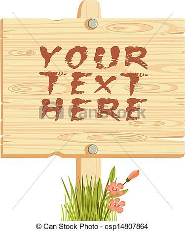 Clip Art Vector of wooden sign csp14807864.