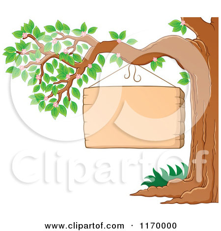 Clipart of Wooden Winter Signs with Snow.