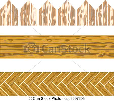 Clipart Vector of seamless wood border.