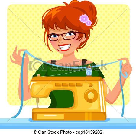ilustraciones maquinas de coser.