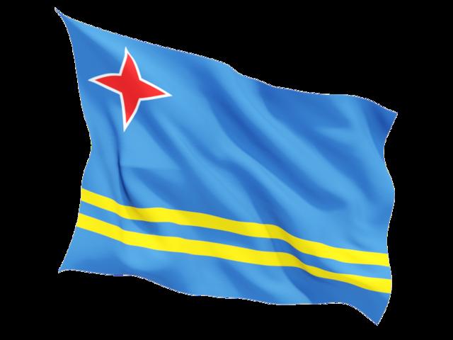 Fluttering flag. Illustration of flag of Aruba.