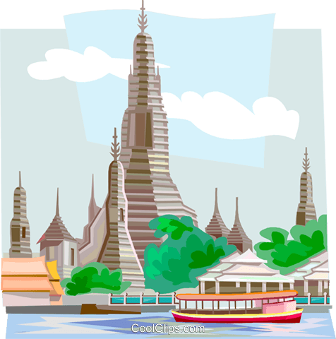 Wat Arun Temple in Thailand Royalty Free Vector Clip Art.