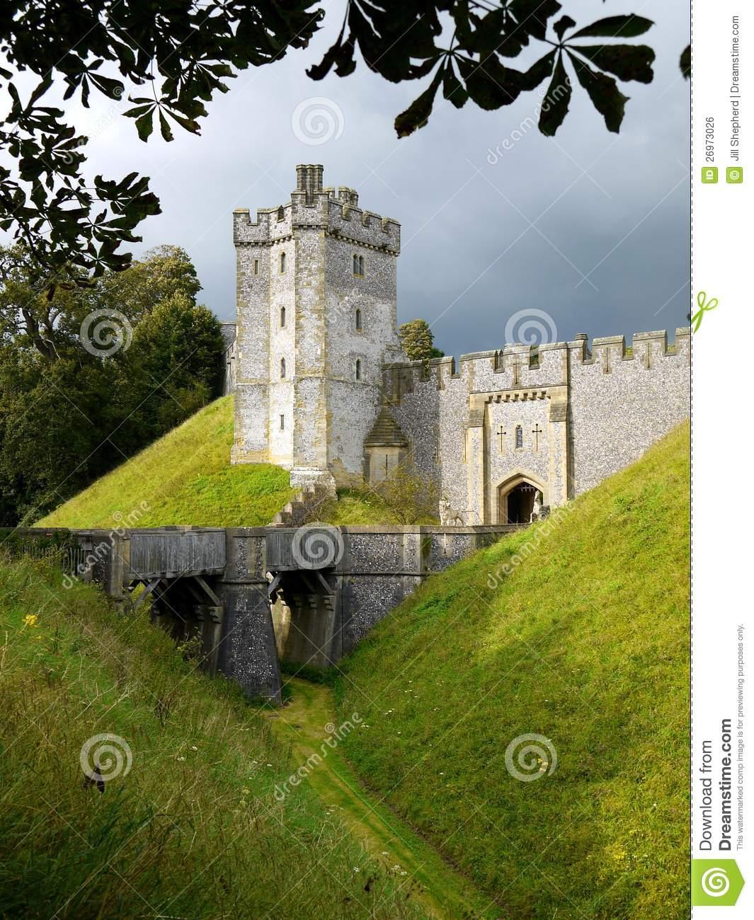 England: Arundel Castle Moat Royalty Free Stock Image.
