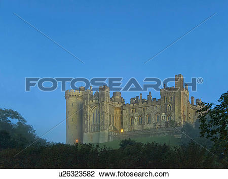 Stock Photo of England, West Sussex, Arundel. Mist surrounding.