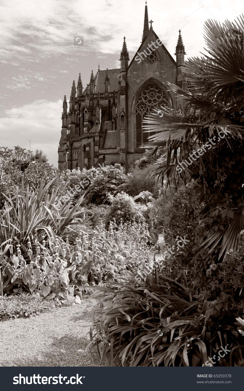 Arundel Cathedral And Arundel Castle Garden. Church In Gothic.