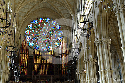 Organ In Arundel Cathedral. Stock Photo.