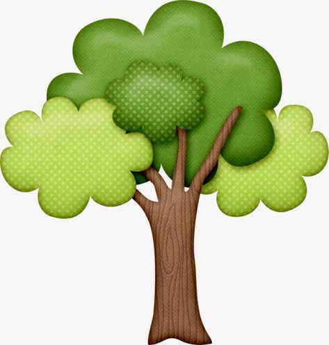 Desenhos Animados Verdes árvores Pintadas à Mão.