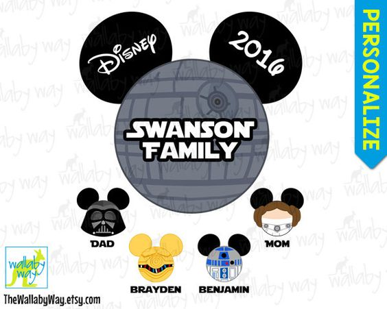 Star Wars Family Disney Printable Iron On Transfer or Use as Clip.