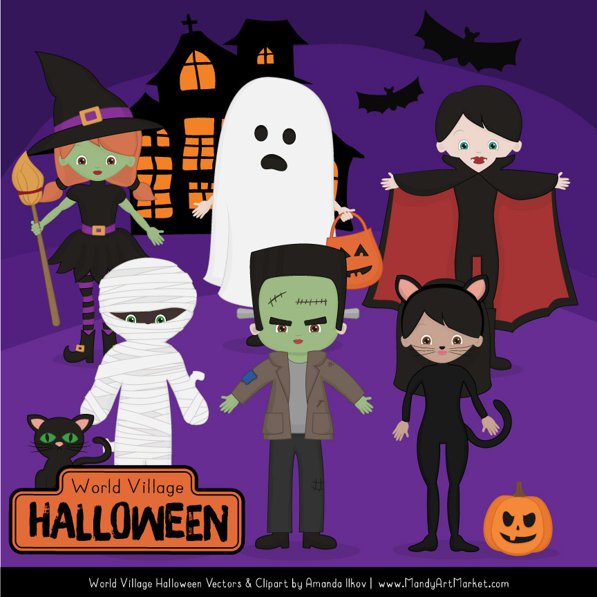 Free Halloween Characters Clipart Set.