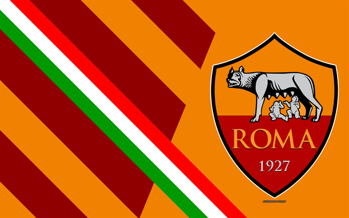 Download wallpapers AS Roma, 4k, Italian football club, logo.