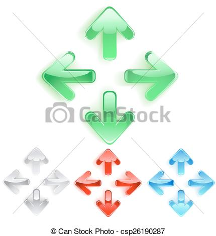 Vector of symbol of arrows from smooth glass.
