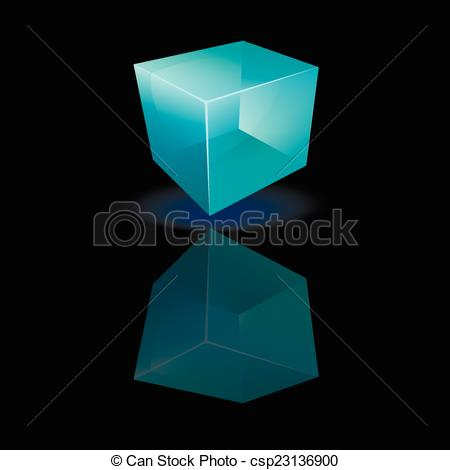 Vector Clipart of Blue glass cube on a smooth surface.