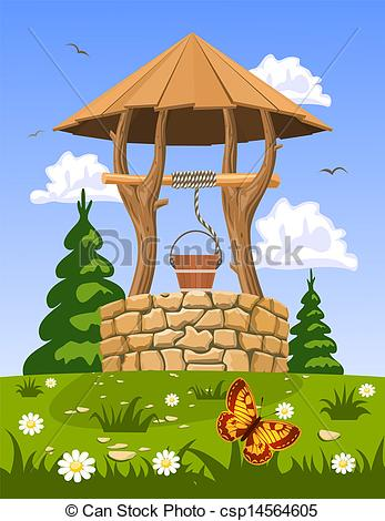 Vector Clipart of Well of fresh natural water csp14564605.