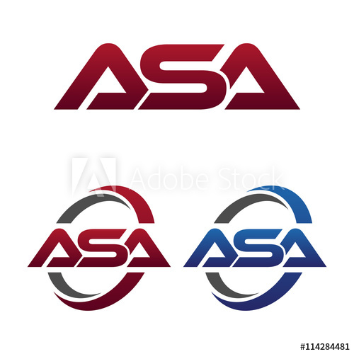 Modern 3 Letters Initial logo Vector Swoosh Red Blue asa.