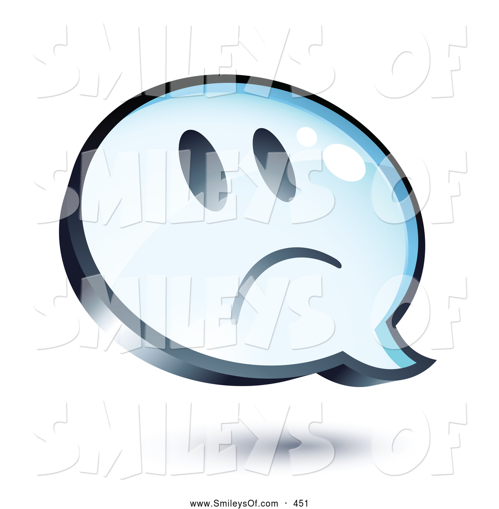 Vector Smiley Clipart of ASad Face on a Shiny Blue Thought Balloon.