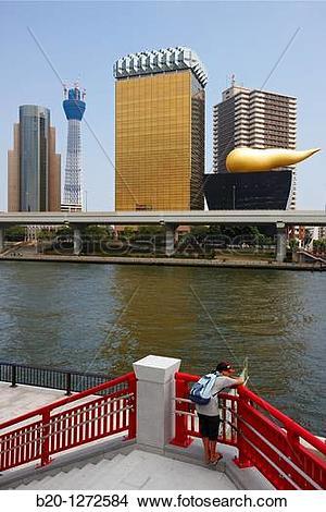 Stock Photo of Sumidagawa river, Asahi Beer Tower and Tokyo Sky.