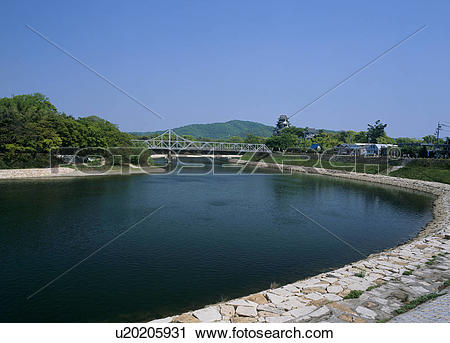 Stock Photography of Asahi River, Okayama, Okayama, Japan.