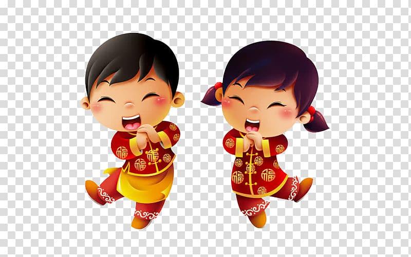 Two Asian girls illustration, Hong Kong Chinese New Year.