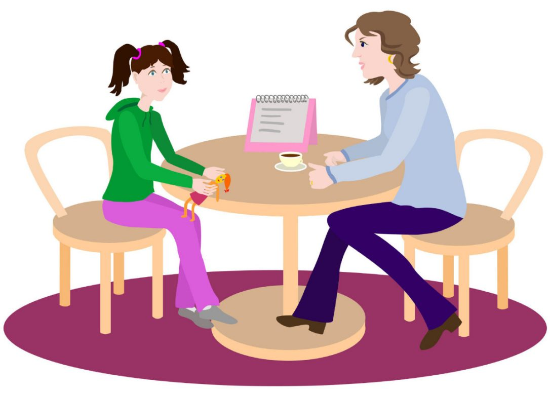 Parents Talking To Child Clipart.