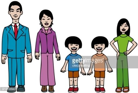 Modern Asian Family Clipart Image.