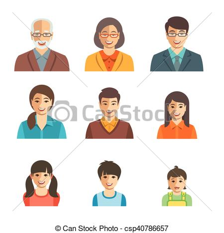 Asian family happy faces flat avatars set.