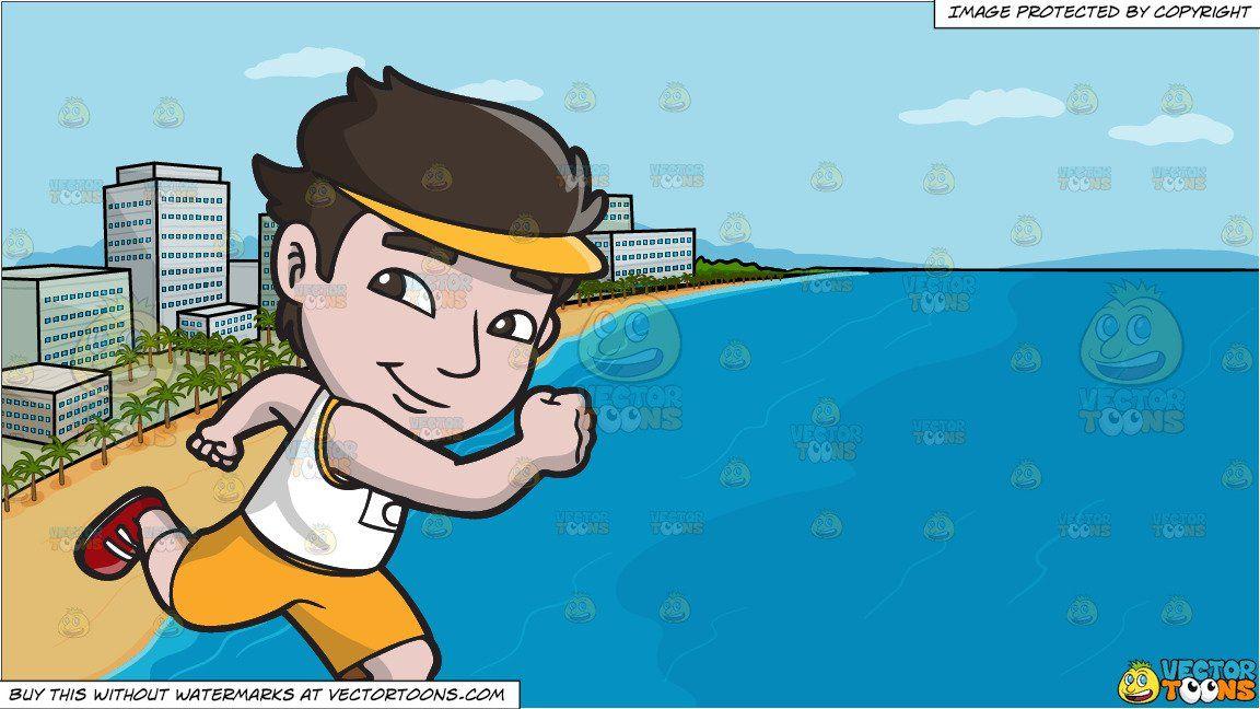 clipart #cartoon A Cute Asian Guy Running A Marathon and A.