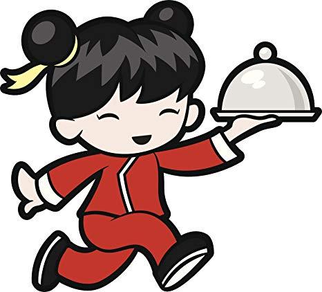Amazon.com: Cute Happy Running Little Asian Girl Waitress.