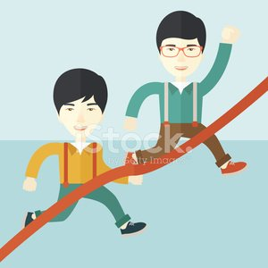 Two asian guy running to finish line Clipart Image.