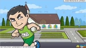 An Asian Guy Running A Marathon and A Country Chapel Background.
