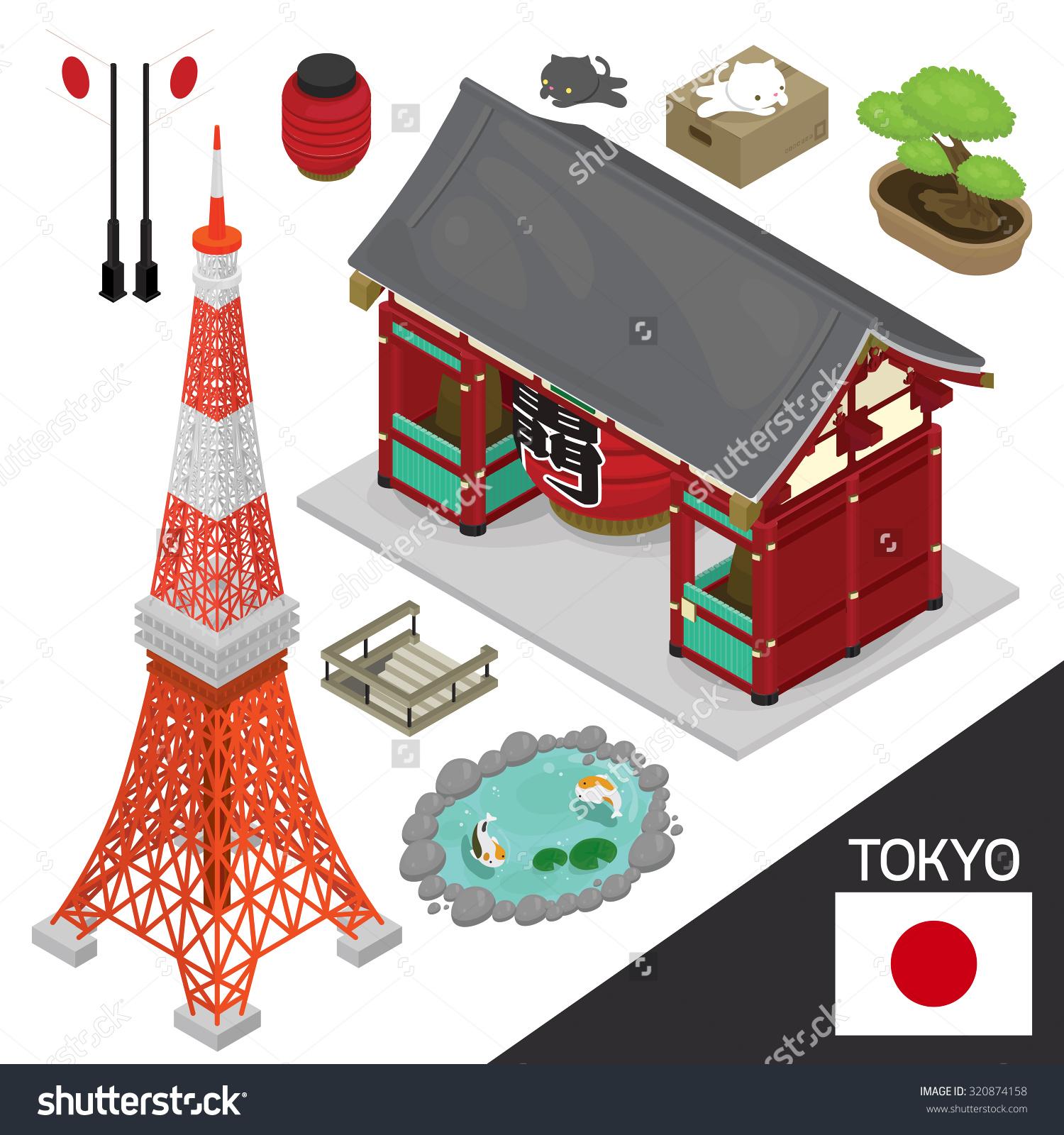 Illustration Isometric Info Graphic Vector Japan Stock Vector.