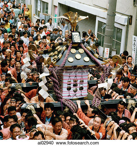 Stock Photo of Japanese lanterns hanging over the street, Asakusa.