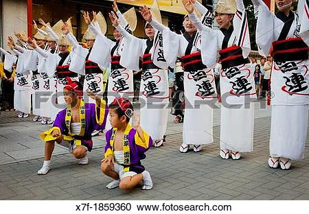 Stock Photography of Asakusa Okuyama matsuri, Awaodori festival.