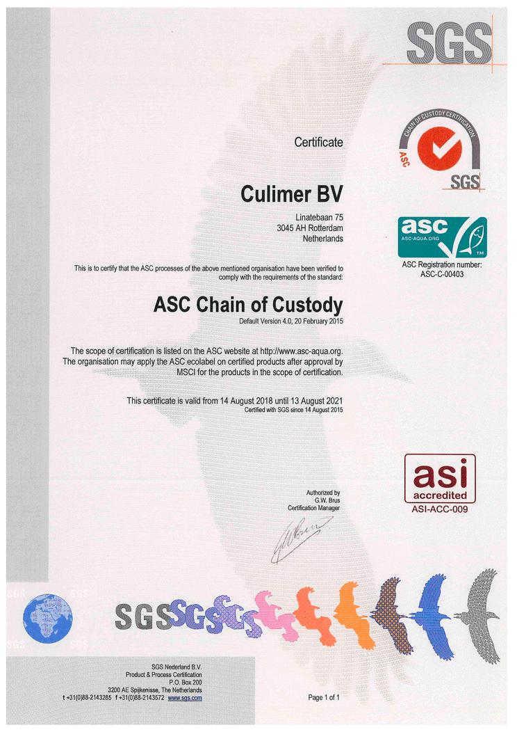 Culimer ASC certified.