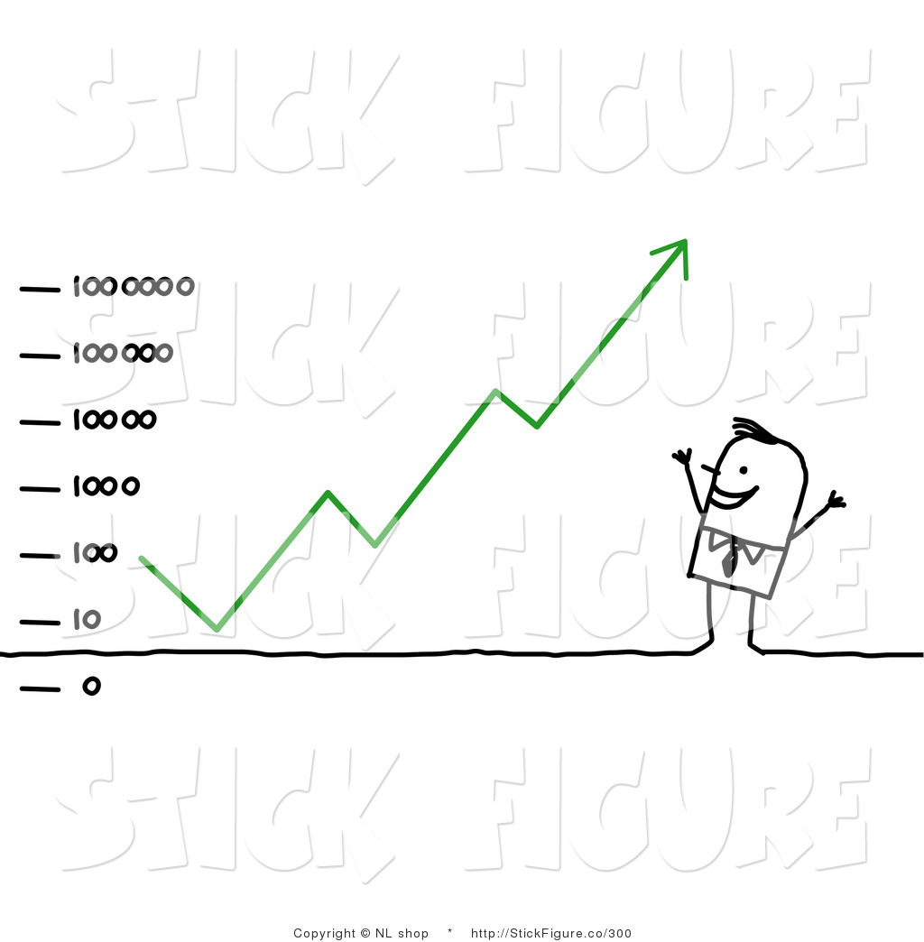 Clip Art of a Successful Stick Figure Business Man Dancing Under.