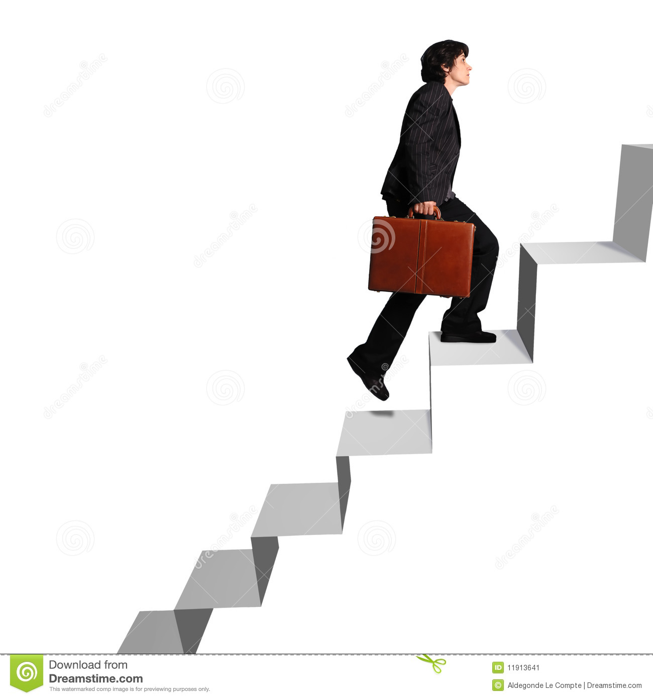 Business Woman Ascending Stairs Royalty Free Stock Images.