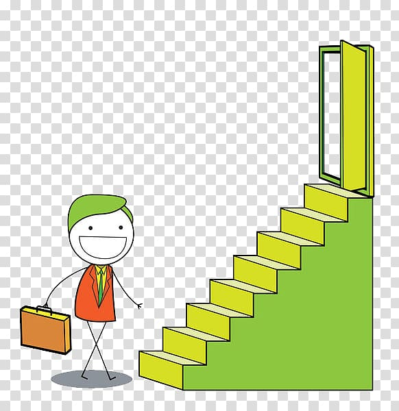 Stairs Can , The man with a bag ready to climb the stairs.