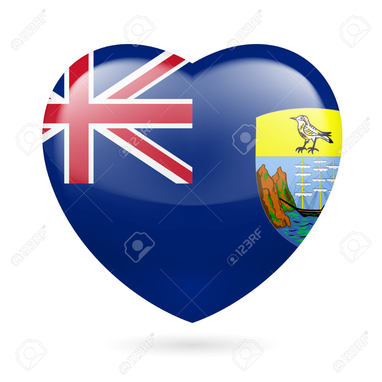 I Love Saint Helena, Ascension And Tristan Da Cunha. Heart With.