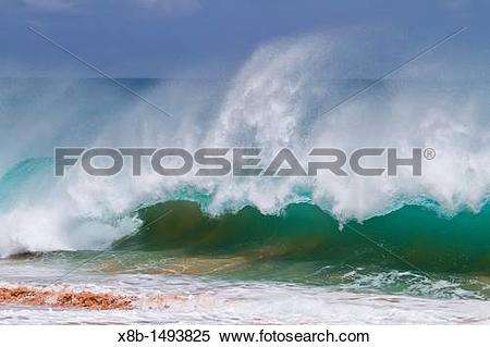 Stock Image of HUGE waves breaking on the beach at Ascension.