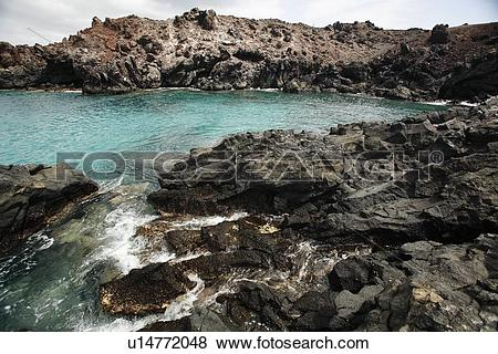 Pictures of Volcanic rock shoreline on Ascension Island in the.