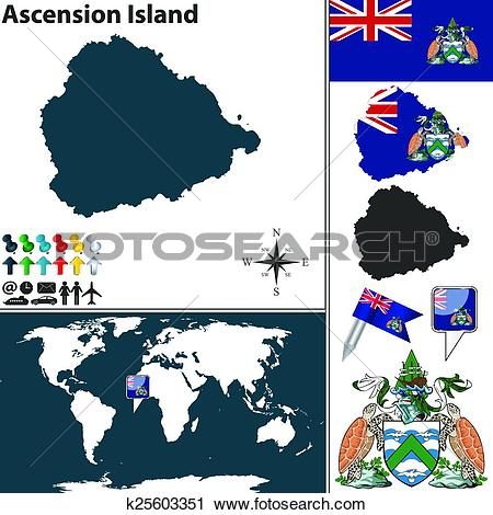 Clipart of Map of Ascension Island k25603351.
