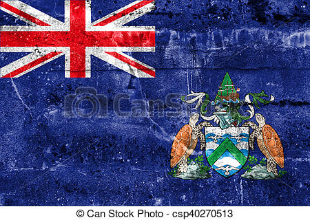 Clipart of Flag of Ascension Island, Canada, painted on dirty wall.