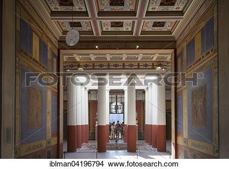 Stock Photo of Courtyard in Pompejanum, Aschaffenburg, Lower.