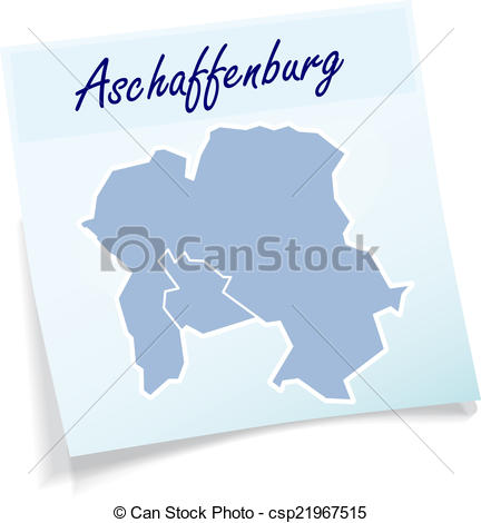 Vector Clip Art of Map of Aschaffenburg as sticky note in blue.