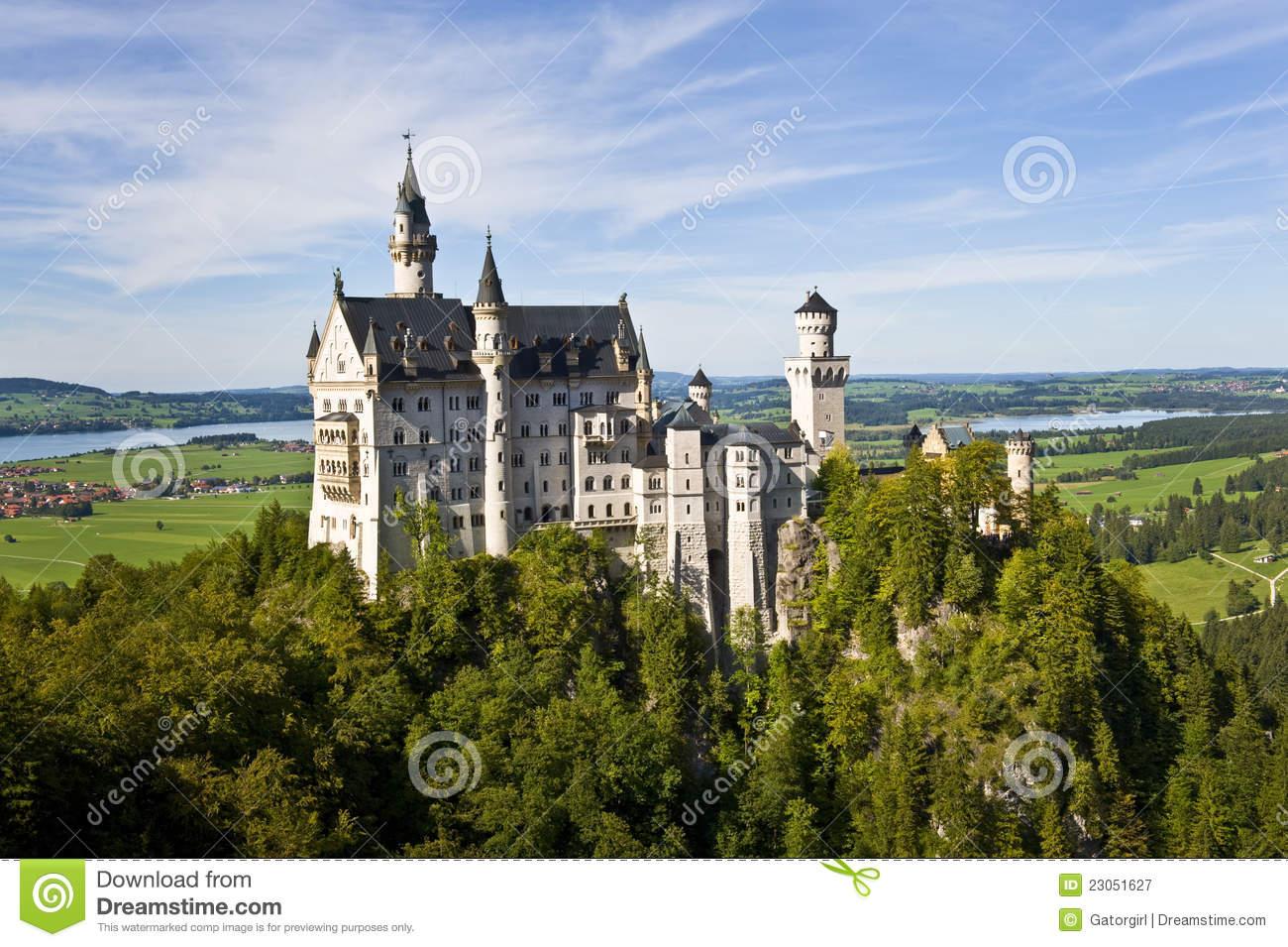 Neuschwanstein Castle, Bavaria Germany Wide Shot Royalty Free.