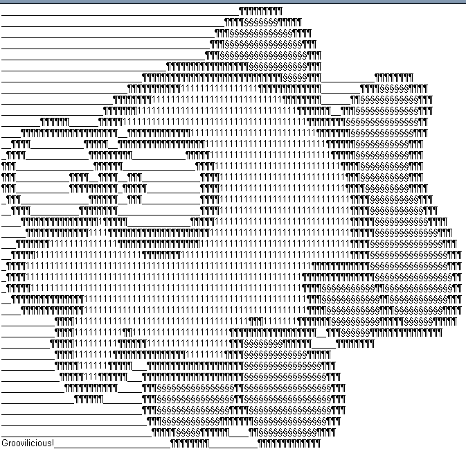 Fish ASCII by Groovilicious on DeviantArt.