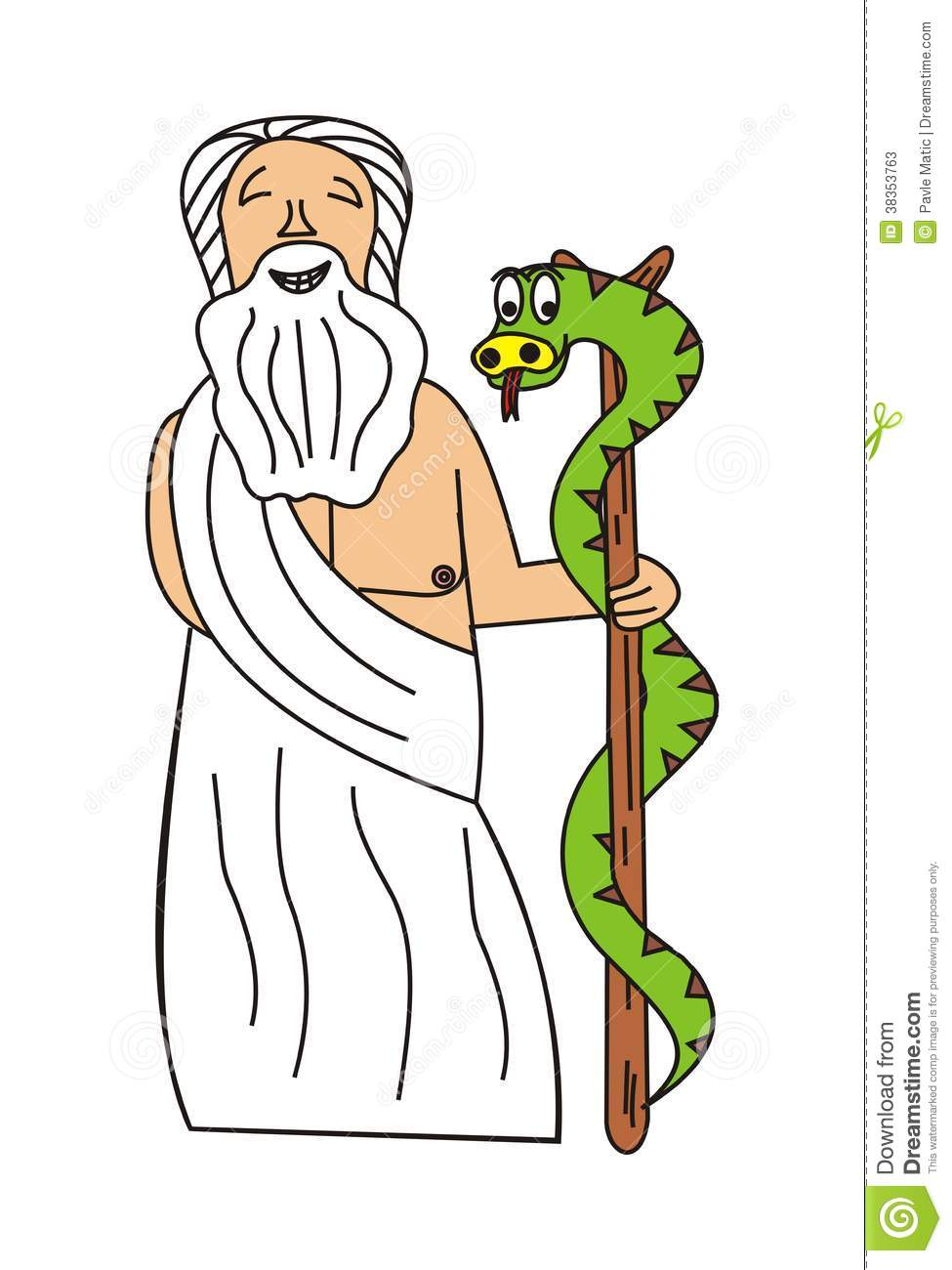 Asclepius and his rod stock vector. Illustration of ancient.